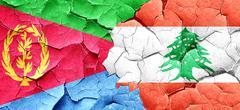 Eritrea flag with Lebanon flag on a grunge cracked wall - stock illustration