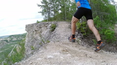 Male runner exercising and training outdoors in nature. traill-running. Stock Footage