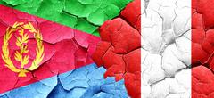 Eritrea flag with Peru flag on a grunge cracked wall - stock illustration
