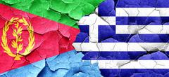 Eritrea flag with Greece flag on a grunge cracked wall Stock Illustration