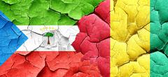 Equatorial guinea flag with Guinea flag on a grunge cracked wall Stock Illustration