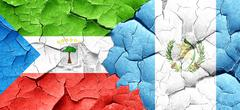 Equatorial guinea flag with Guatemala flag on a grunge cracked w - stock illustration