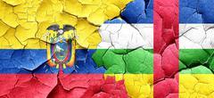 Ecuador flag with Central African Republic flag on a grunge crac - stock illustration