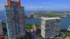 Aerial video of luxury waterfront condos and Fisher Island - stock footage