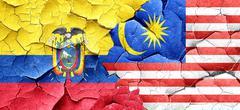 Ecuador flag with Malaysia flag on a grunge cracked wall Stock Illustration