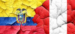 Ecuador flag with Peru flag on a grunge cracked wall - stock illustration