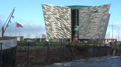The Titanic Belfast, visitor center in Belfast, UK Stock Footage