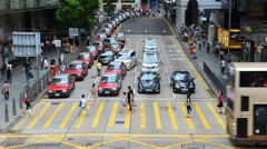 HONG KONG - CIRCA MAY 2014: a close up and elevated shot of street scene in C - stock footage