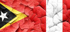 east timor flag with Peru flag on a grunge cracked wall - stock illustration