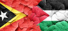 east timor flag with Palestine flag on a grunge cracked wall - stock illustration