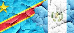 Democratic republic of the congo flag with Guatemala flag on a g - stock illustration