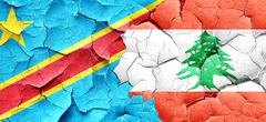 Democratic republic of the congo flag with Lebanon flag on a gru Stock Illustration