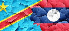 Democratic republic of the congo flag with Laos flag on a grunge - stock illustration