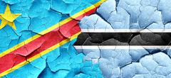 Democratic republic of the congo flag with Botswana flag on a gr - stock illustration