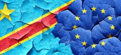 Democratic republic of the congo flag with european union flag o Stock Illustration