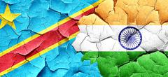 Democratic republic of the congo flag with India flag on a grung - stock illustration