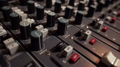 The sound studio - the mixing desk Stock Footage
