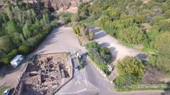 Banias - The large Byzantine Church;Park Enterance; Grotto of God Pan.mp4 Stock Footage
