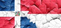 Dominican republic flag with Indonesia flag on a grunge cracked Stock Illustration