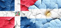 dominican republic flag with Argentine flag on a grunge cracked - stock illustration