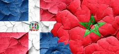 dominican republic flag with Morocco flag on a grunge cracked wa - stock illustration