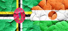 Dominica flag with Niger flag on a grunge cracked wall Stock Illustration