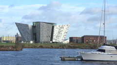 Landscape with Titanic Belfast, visitor center, Belfast, UK Stock Footage