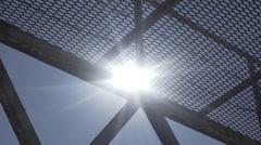 Sun Through The Metal Structure Stock Footage