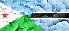 Djibouti flag with Botswana flag on a grunge cracked wall Stock Illustration