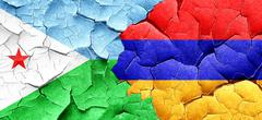 Djibouti flag with Armenia flag on a grunge cracked wall - stock illustration