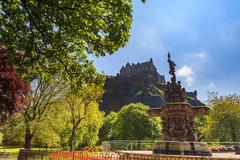 Ross fountain landmark in Pinces Street Gardens and Edinburgh Castle, Scotlan - stock photo