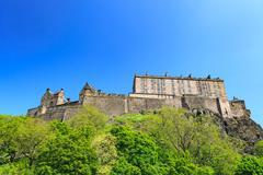 Edinburgh Castle on a beautiful clear sunny day Stock Photos