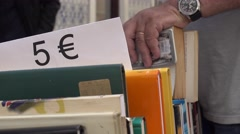 Second hand book stall in Europe - stock footage