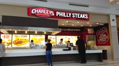 4K Charleys Philly Steak sandwiches, food court Stock Footage