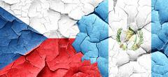 Czechoslovakia flag with Guatemala flag on a grunge cracked wall Stock Illustration