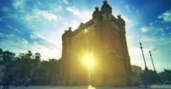 Barcelona landmarks. Sun rays in Triumphal arch in Barcelona, Spain Stock Footage