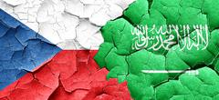 Czechoslovakia flag with Saudi Arabia flag on a grunge cracked w Stock Illustration