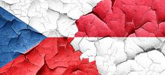 czechoslovakia flag with Indonesia flag on a grunge cracked wall - stock illustration