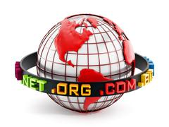 Domain extensions around the red globe. 3D illustration Stock Illustration