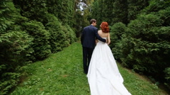 Bride and groom go together Stock Footage