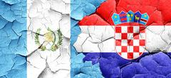 Guatemala flag with Croatia flag on a grunge cracked wall Stock Illustration