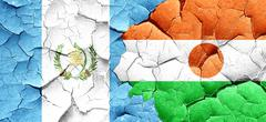 Guatemala flag with Niger flag on a grunge cracked wall Stock Illustration