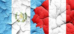 guatemala flag with Peru flag on a grunge cracked wall - stock illustration