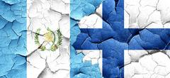 Guatemala flag with Finland flag on a grunge cracked wall Stock Illustration