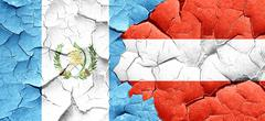 guatemala flag with Austria flag on a grunge cracked wall - stock illustration