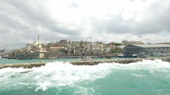 Jaffa - Old city and port overview from Mediterranean Sea (North to South).mp Stock Footage