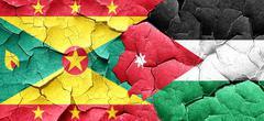 Grenada flag with Jordan flag on a grunge cracked wall - stock illustration