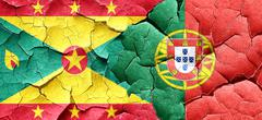Grenada flag with Portugal flag on a grunge cracked wall - stock illustration