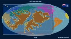 Falkland Islands - 3D tube zoom (Mollweide projection). Continents Stock Footage