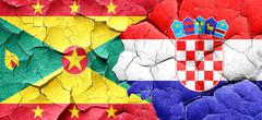Grenada flag with Croatia flag on a grunge cracked wall - stock illustration